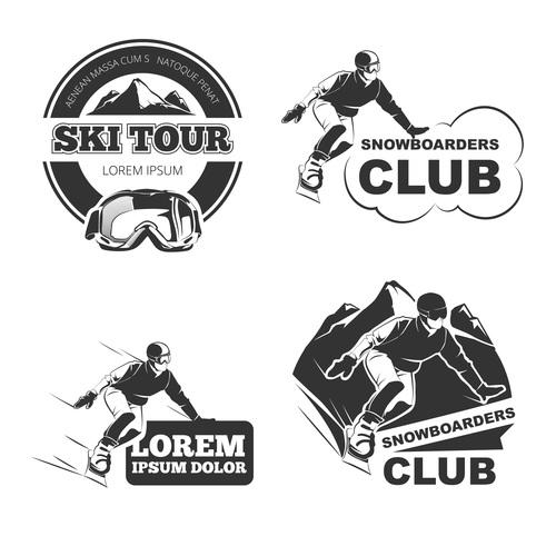 Ski tour emblem vector