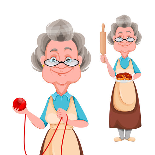 Smiling grandmother cartoon vector