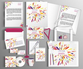 Splash color corporate identity collection vector