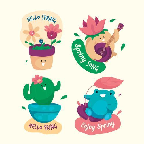 Spring flat design decoration label vector