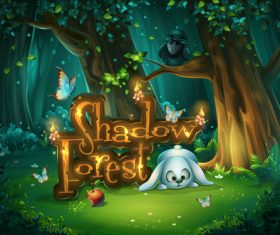 Start window Shadowy forest GUI vector