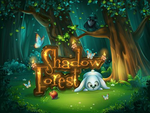Start window Shadowy forest GUI vector