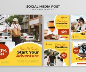 Start your adventure travel flyer vector