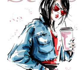 Street fashion watercolor illustration vector