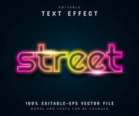 Street text neon style text effect vector
