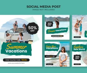 Summer vacations flyer vector