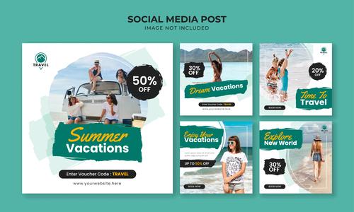 Summer vacations flyer vector