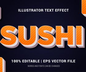 Sushi words and fonts 3d text style vector