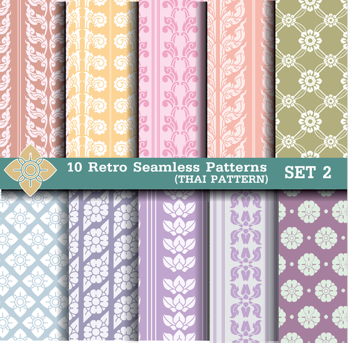 Thai pattern style seamless background vector