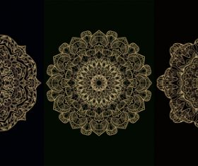 Three different patterns mandala decoration vector