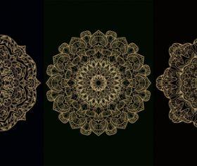 Three different patterns mandala decoration vector