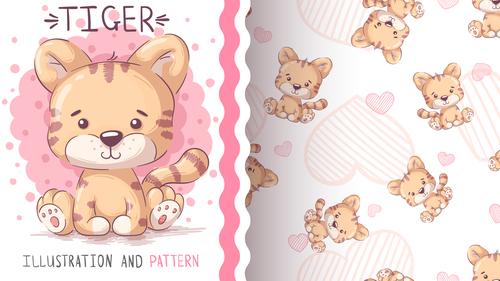 Tiger cartoon vector seamless pattern