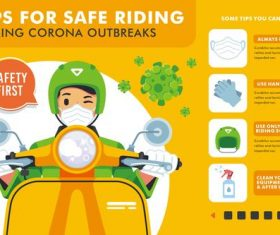 Tips for safe riding cartoon illustration vector