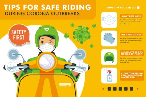 Tips for safe riding cartoon illustration vector