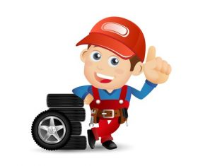 Tire and repairman illustration vector