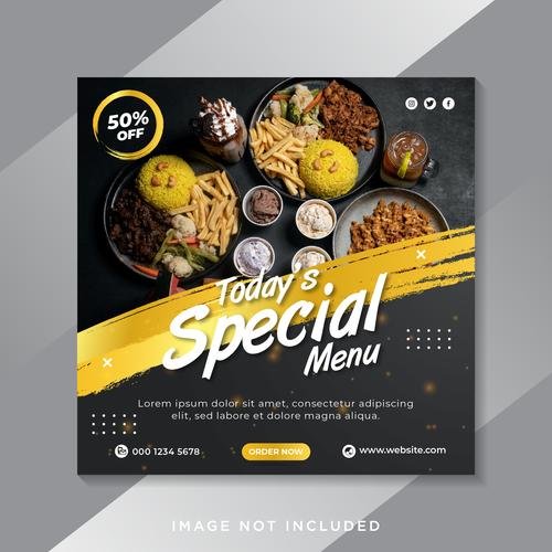 Todays special menu flyer vector