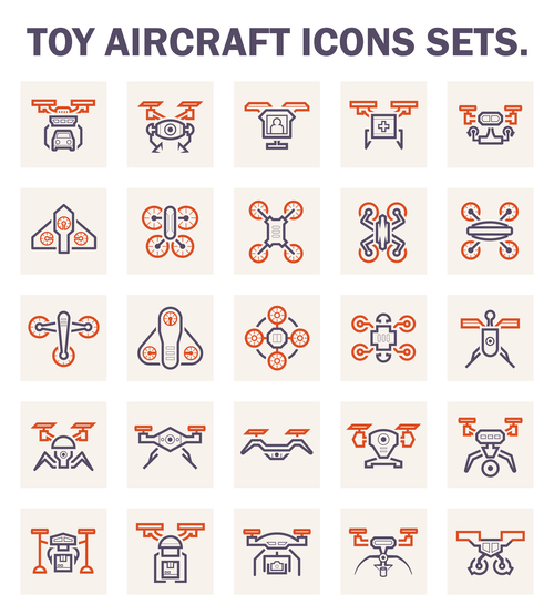 Toy aircraft icons vector