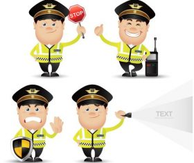 Traffic policeman cartoon vector