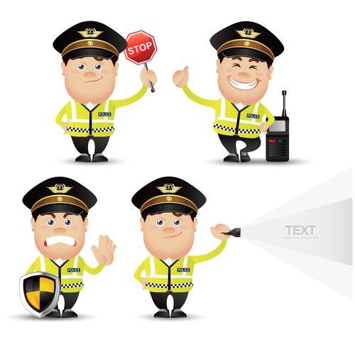 Traffic policeman cartoon vector