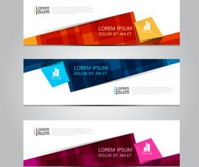 Trapezoidal color banner vector