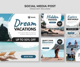 Travel social media card vector