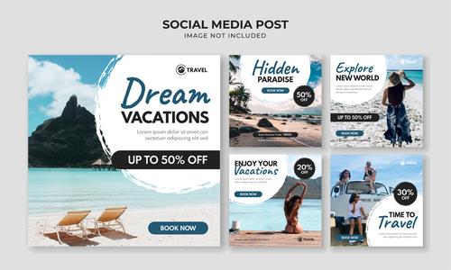 Travel social media card vector