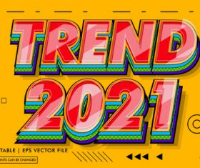 Trend 2021 text effects style vector