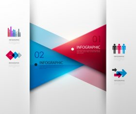 Triangle color information template design vector