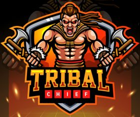 Tribal chief game emblem design vector