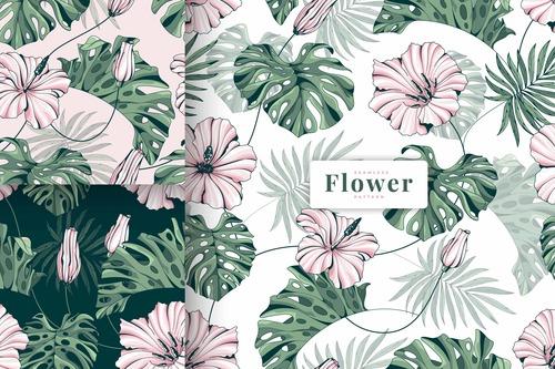 Tropical fairy garden floral patterns vector