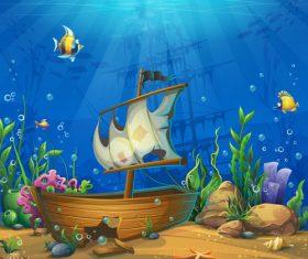 Undersea world with ship vector