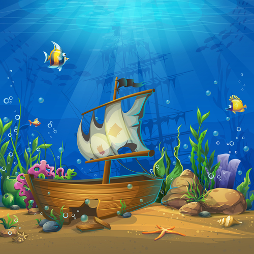 Undersea world with ship vector
