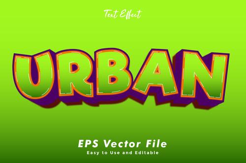 Urban 3d text style effect vector