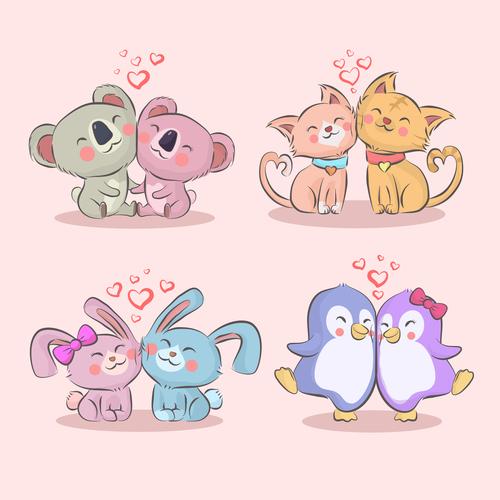 Valentine animal couples vector