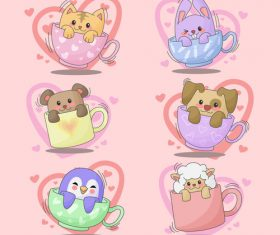 Valentine animal cups vector