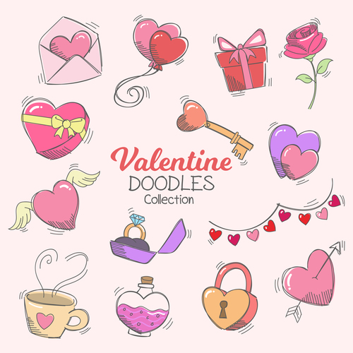 Valentine doodle collection vector