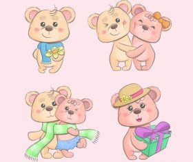 Valentine teddy bears cartoon vector