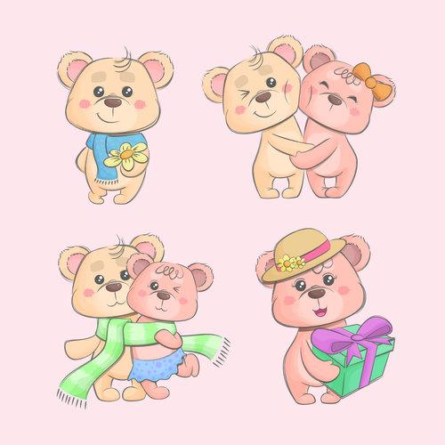 Valentine teddy bears cartoon vector