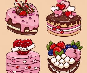 Valentine's Day heart cake cartoon illustration vector