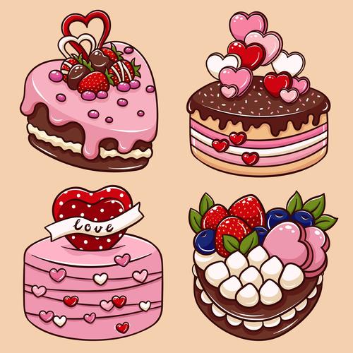Valentines Day heart cake cartoon illustration vector