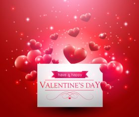 Valentines day card with floating red hearts