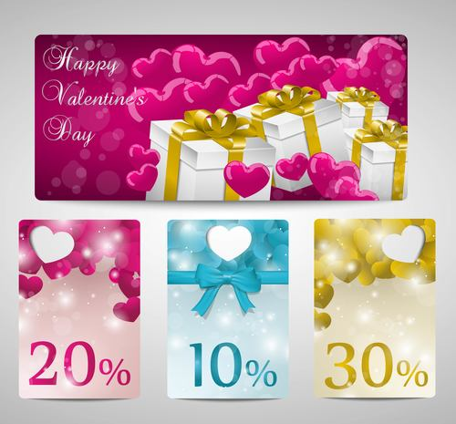 Valentines day gift promotion banner vector