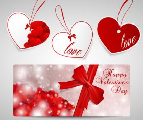 Valentines day heart shaped label design vector