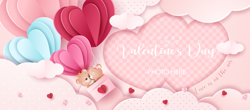 Valentines day paper cut vector