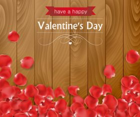Valentines day rose petals background vector
