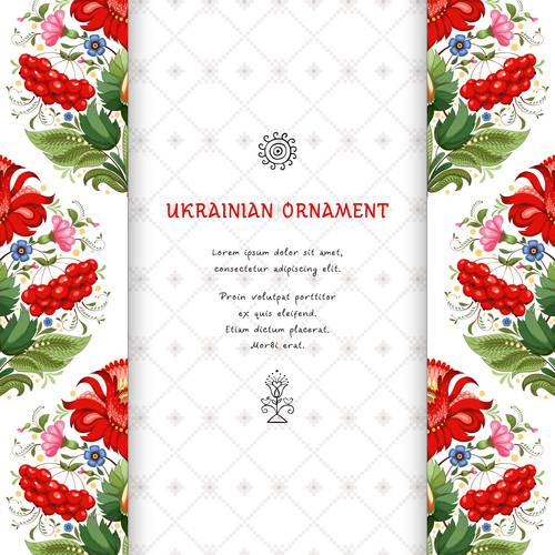 Vector card with floral square ukrainian pattern