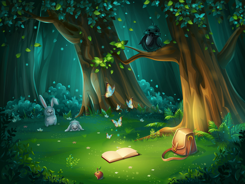 Vector illustration of forest glade with crow book