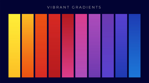 Vibrant colorful set of gradients vector
