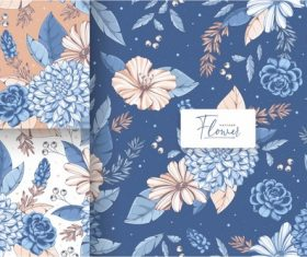 Vintage blue flower seamless pattern vector