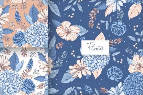 Vintage blue flower seamless pattern vector
